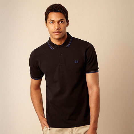 Fred Perry - Fred Perry black twin tipped pique polo shirt