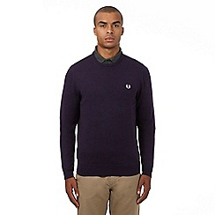 Fred Perry - Purple pure Merino wool logo applique crew neck jumper