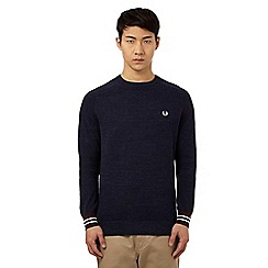 Fred Perry - Navy textured crew neck jumper