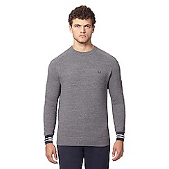 Fred Perry - Grey textured crew neck jumper