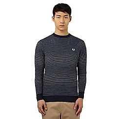 Fred Perry - Navy striped crew neck jumper