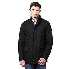 Ben Sherman - Big and tall black wool blend coat
