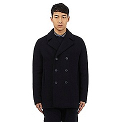 Ben Sherman - Navy herringbone texture wool rich peacoat