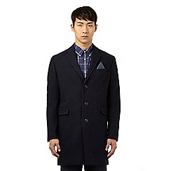 Ben Sherman - Navy single breasted overcoat with wool