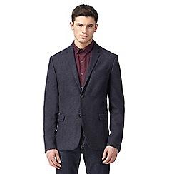 Ben Sherman - Big and tall navy herringbone textured blazer
