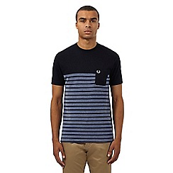 Fred Perry - Navy striped print t-shirt