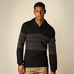 BEN SHERMAN - Black Fair Isle knitted shawl neck jumper