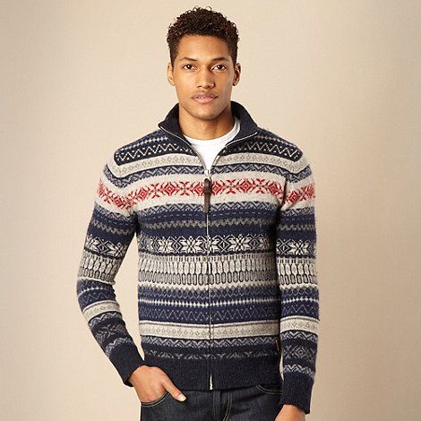 Schott - Navy Fair Isle knit zip through cardigan