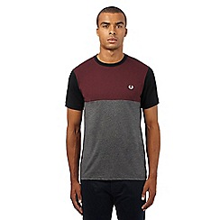 Fred Perry - Dark red and grey colour block embroidered logo t-shirt