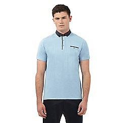 Ben Sherman - Big and tall blue polka-dot collar polo shirt