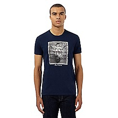 Ben Sherman - Navy scooter postage stamp print t-shirt