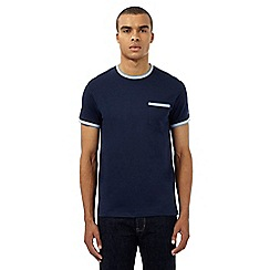 Ben Sherman - Navy textured check trim t-shirt