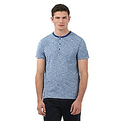 Ben Sherman - Big and tall blue marl print granddad collar t-shirt