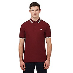Fred Perry - Dark red logo embroidered twin tipped regular fit polo shirt