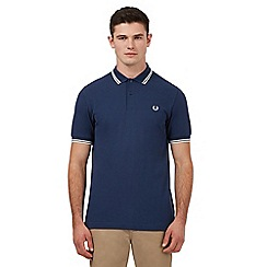 Fred Perry - Blue logo embroidered twin tipped regular fit polo shirt
