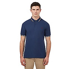 Fred Perry - Navy logo embroidered twin tipped regular fit polo shirt