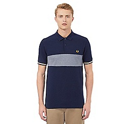 Fred Perry - Navy textured insert Oxford polo shirt