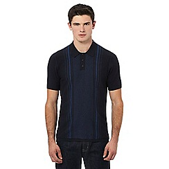 Ben Sherman - Navy patterned knitted polo shirt