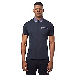 Ben Sherman - Navy checked print polo shirt