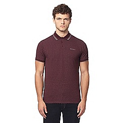 Ben Sherman - Deep red knitted chevron print polo shirt