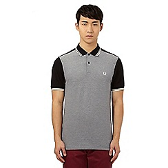 Fred Perry - Black colour block pique polo shirt