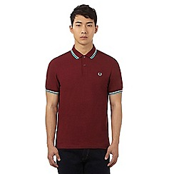 Fred Perry - Dark red double tipped polo shirt