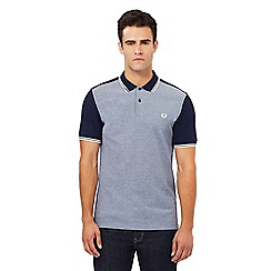 Fred Perry - Navy textured contrasting front panel polo shirt