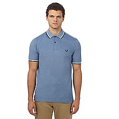 Fred Perry - Mid blue logo applique polo shirt