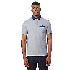 Fred Perry - Light blue embroidered logo Oxford collar polo shirt