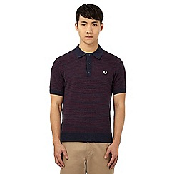 Fred Perry - Navy striped knit polo shirt