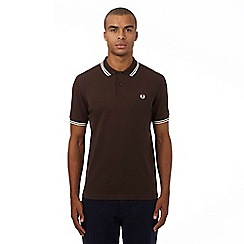 Fred Perry - Brown logo applique polo shirt