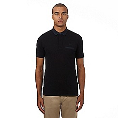 Fred Perry - Black woven collar polo shirt