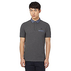 Fred Perry - Grey polo shirt with woven collar