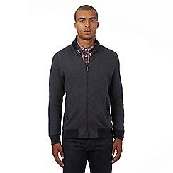 Ben Sherman - Dark grey birdseye textured zip through sweater