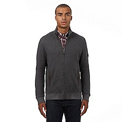 Ben Sherman - Big and tall grey birdseye textured zip through sweater