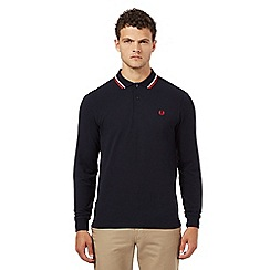 Fred Perry - Navy tipped long sleeved polo shirt