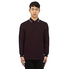 Fred Perry - Dark red tipped long sleeved polo shirt