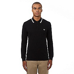 Fred Perry - Black logo applique long sleeved polo shirt