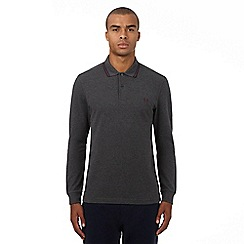 Fred Perry - Grey logo applique long sleeved polo shirt