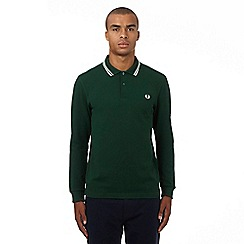 Fred Perry - Green logo applique long sleeved polo shirt