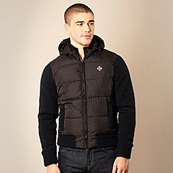 Schott - Black knitted sleeved padded jacket