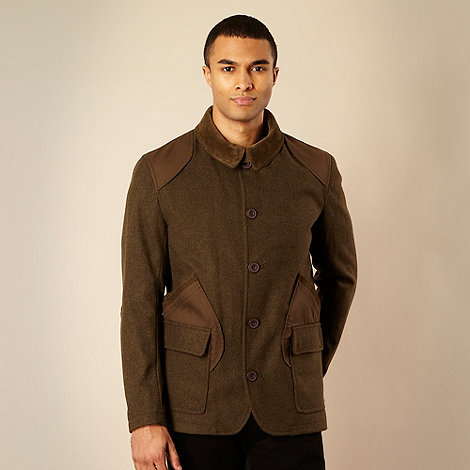 Method - Green wool blend patchwork jacket