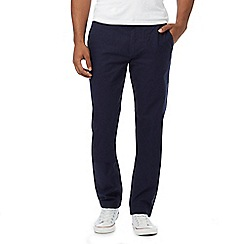 Fred Perry - Navy textured flat front trousers