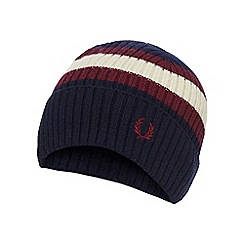 Fred Perry - Navy tipped embroidered logo wool beanie hat