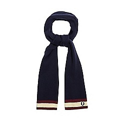 Fred Perry - Navy tipped embroidered logo wool scarf
