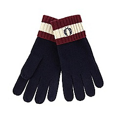 Fred Perry - Navy tipped embroidered logo wool gloves