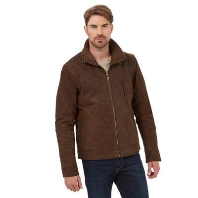 Barneys Brown leather Harrington jacket