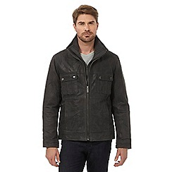 Barneys - Big and tall dark grey mock 2-in-1 harrington hybrid jacket