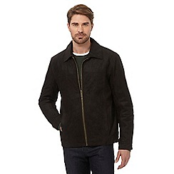 Barneys - Big and tall dark brown leather suede jacket