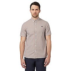 Fred Perry - Yellow basket weave print regular fit shirt